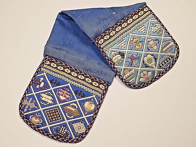 19th C. Qing Ching Dynasty Chinese Silk Embroidered Tri-Fold Pouch