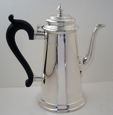 English Sterling Ebonized Handle Tessiers Lighthouse Coffee Pot London 1959
