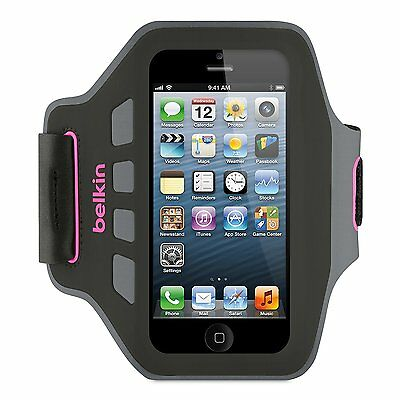 Belkin iPhone 5S 5C 5 & SE Ease-Fit Plus Running Gym Armband Case Grey/Pink