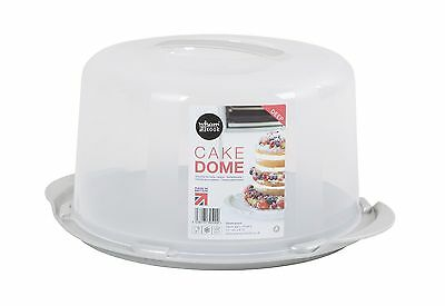 Large 15cm Deep Round Cake/Cheese Dome Aluminium/Clear-39500-MADE IN BRITAIN