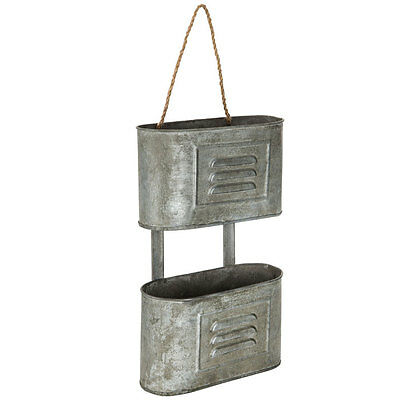 Rustic Galvanized Metal Hanging Wall Caddy  (Farmhouse Ranch Home Decor)