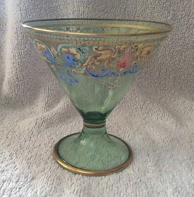 Antique Hand Made Glass With Painted Decoration, Possibly Italian