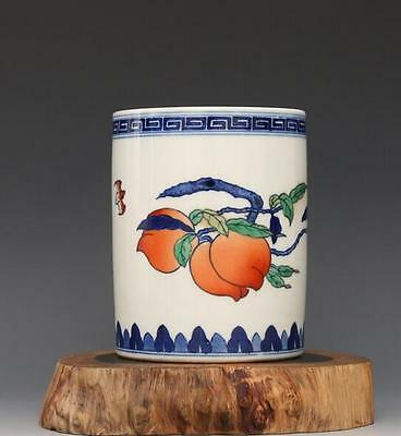 chinese ancient Blue and white color bucket porcelain sculpture fruit Brush pot