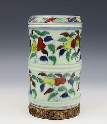 chinese ancient Colored glaze porcelain sculpture Flowers and fruits tea caddy