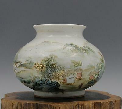 chinese ancient  white glaze porcelain sculpture landscape painting pot