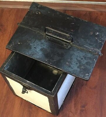 Vintage Antique Primitive Humidor Cabinet Cooler Insulated Metal With Hinges