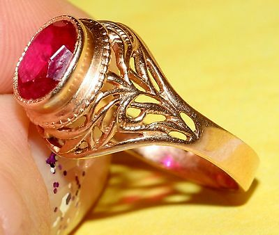 Fantastic! Last Century Awesome RUBY GOLD 14K ring Stamp 583 ROYAL USSR Antique