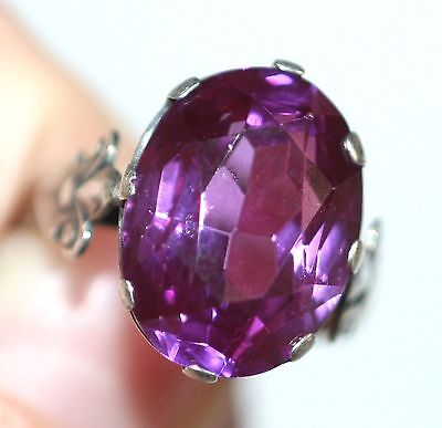 Large Unique Rare AMETHYST stone Ring Silver 875 USSR Antique