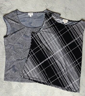 Cleo Lot Two Black White Tank Tops Office Wear Business Casual M Wrinkle Free
