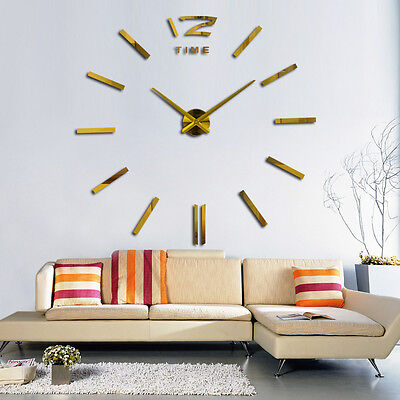 3D Luxury DIY Large Wall Clock Mirror Surface Sticker Home Office Decor Acrylic