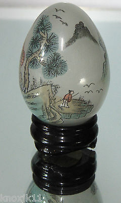 Vtg Chinese Reverse Painted GLASS EGG & STAND Asian Fisherman Fishing Boat Trees