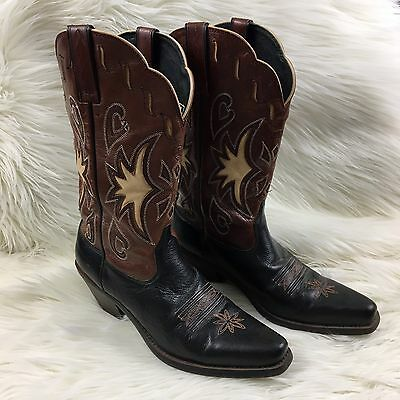 Women's ARIAT Heritage Cowboy Leather Boots Brown Black Floral Size 8.5