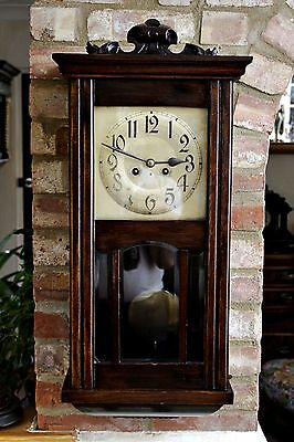 Antique Victorian Large German Wall Oak Clock with Chimes