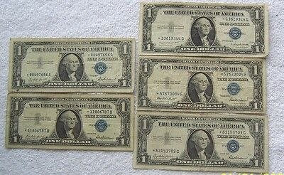 Five  $1 Dollar Silver  Certificate Star  Blue Notes 1935--1957