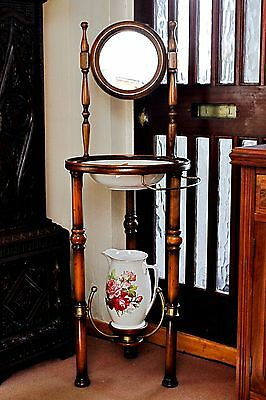 Vintage Wash Stand with Mirror, Pitcher and Bowl