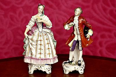 A Pair of Vintage German Rudolpf Kammer of Volkstedt Porcelain Figurines