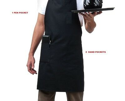 1 New BLACK Waitress Waiter Server 3 Pocket BIB Apron Commercial grade quality