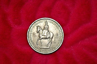 1953 Coronation of Queen Elizabeth II British Five Shilling Coin