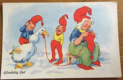 Old Postcard Danish Christmas Greetings 1951 Goose, Children, Red Knitted Hats