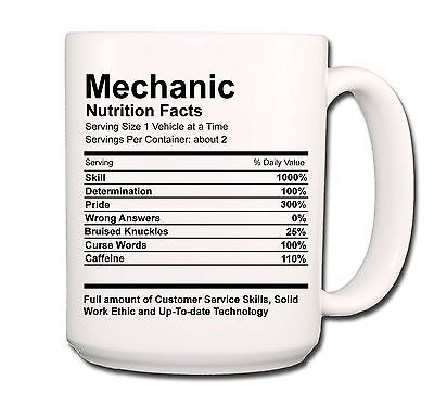 MECHANIC Nutrition Facts EXTRA LARGE COFFEE MUG CUP 15 oz