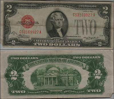 1928D $2 Dollar Bill Old Us Note Legal Tender Paper Money Currency Red Seal Y126