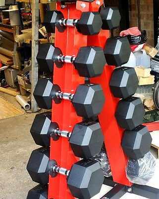 MARCY 210KG 6 Pairs Rubber Hex Dumbbell Weights Set + A Rack Ergo gym crossift