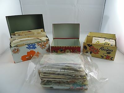 Vintage Lot of 3 Metal Recipe Box Boxes Handwritten Recipes Newspaper Clippings