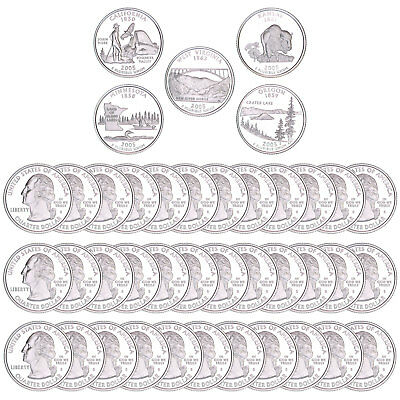 2005 S State Quarter Roll Gem Deep Cameo 90% Silver Proof 40 US Coins