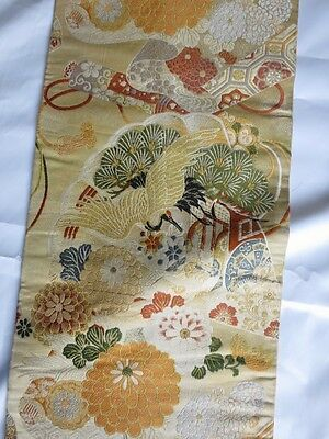 vintage maru obi Japanese with cranes and scrolls on gold brocade 12 ft x 12""