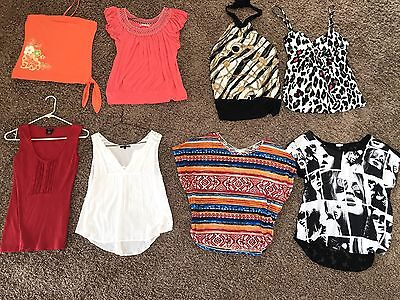 Trendy Lot Of 8 Summer Women's junior size Large Tops, Blouses Shirts