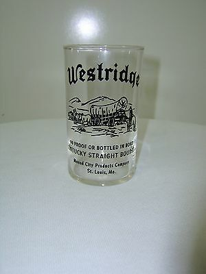 "Westridge Bourbon Kentucky Straight Glass 4"" Tall Mound City St. Louis MO"