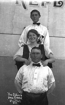 1920s STAIG FAMILY TRIO,GLOBE of DEATH MOTORCYCLE ACT@LUNA PARK~ANTIQUE NEGATIVE