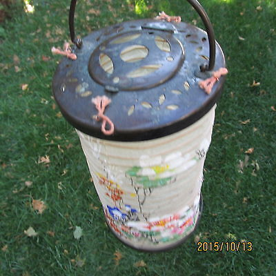antique Oriental Japan China bronze paper CANDLE holder LANTERN very attractive