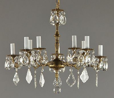 Spanish Brass & Crystal Chandelier c1950 Vintage Antique Restored Glass Ceiling