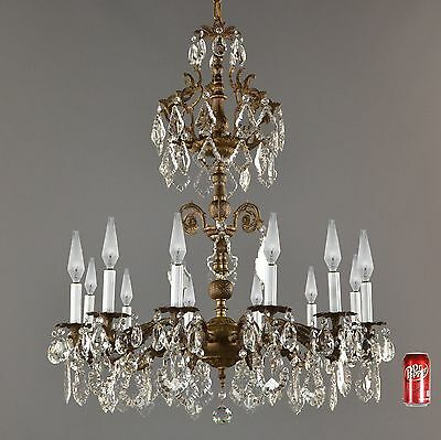 HUGE 3' Spanish Brass & Crystal Chandelier c1940 Vintage Antique French Light
