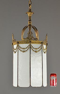 Bronze & Glass Period Antique Chandelier Lantern LARGE c1910 Vintage Gold Victor
