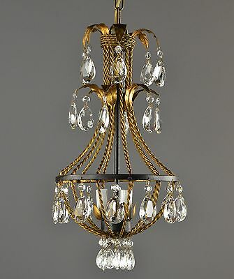 Gilded Tole & Crystal Chandelier c1950 Vintage Antique Gold & Black Ceiling
