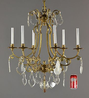 Bronze & Crystal Chandelier c1950 Vintage Antique Gold Ornate French Glass