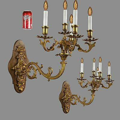 "HUGE 24""d Bronze French Empire Wall Sconces c1900 Vintage Antique Gold Lights"