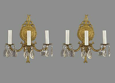 Spanish Brass & Crystal Wall Sconces c1950 Vintage Antique French Style Gold