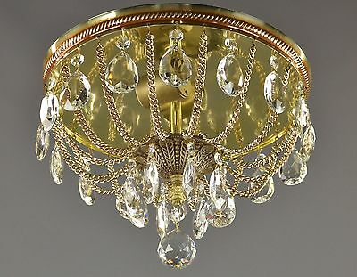 LARGE Tole French Crystal Chandelier c1960 Vintage Antique Gold  Flush Light