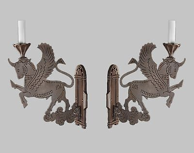 Period Antique Figural Pegasus Bronze Sconces c1910 Vintage Antique