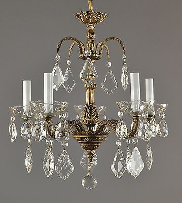 Spanish Brass & Crystal Chandelier c1950 Ornate French Style Ceiling Light