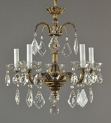 Spanish Brass & Crystal Chandelier c1950