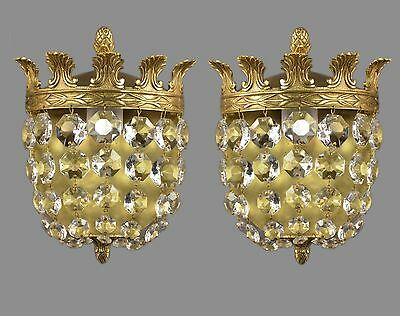 Italian Empire Crystal Sconces c1950 Vintage Antique French Gold Ornate Lights