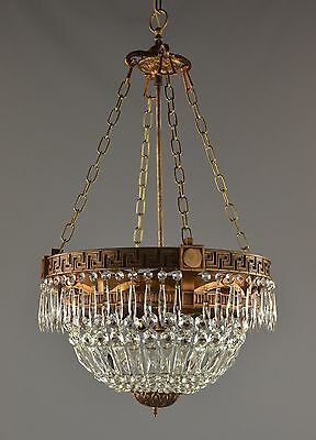 Antique Empire Greek Key Chandelier c1930 Copper Bronze Vintage Hanging Light