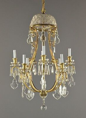 Period Marie Therese Bronze Crystal Chandelier Regency Vintage Antique French