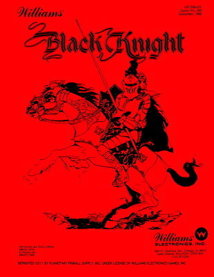 Black Knight Pinball Game Manual w/Instruction Booklet Williams-Red Edition  PPS