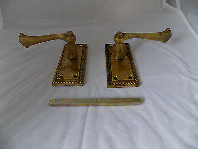 Set of Georgian brass door handles 4 inches with spindle.
