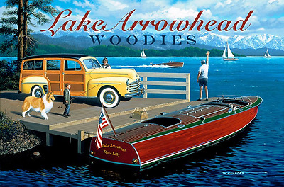 Lake Arrowhead Woodies Metal Sign